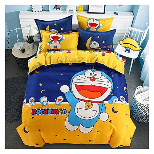 RUICHENG Dibujos Animados Doraemon Mickey Sábana, Sábana Funda Nórdica Juego De Cuatro Piezas,...