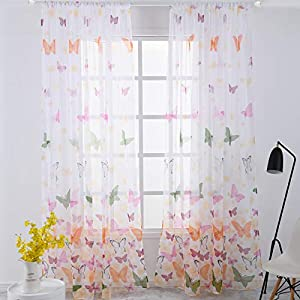 DERCLIVE Butterfly Window Panels Drapes Colorful Printed Door Treatment for Kids Room Nursery Room