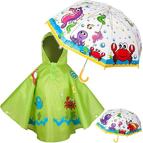 alles-meine.de GmbH 2 TLG. Set: Regenschirm + Regenponcho - Zootiere / Dschungel Tiere & Fische - Kinderschirm - Ø 75 cm - durchsichtig & durchscheinend - transparent - Regencape..