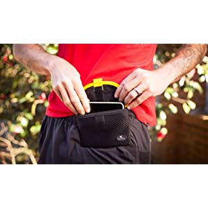 """Running Buddy Magnetic Buddy Pouch: Magnet Pocket Pouches for Cell Phones, iPhone & Other Gear - Beltless Running Pouch Waist Bag for Running, Traveling, Hiking & Cycling:Black, XL (6 3/4"""" x 4"""")"""