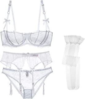 Varsbaby Women Lovely Lace Unlined Balconette Bra and Panty