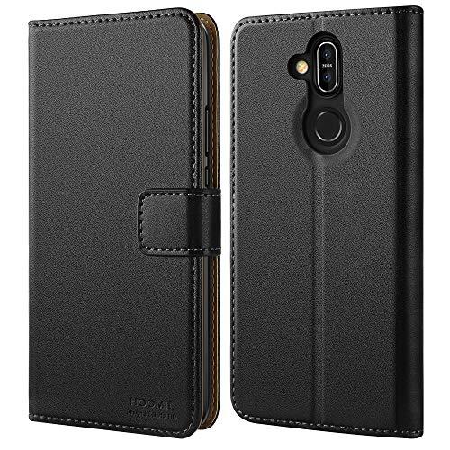 HOOMIL Handyhülle für Nokia 8.1 Hülle, Nokia X7 Hülle, Premium PU Leder Flip Schutzhülle für Nokia 8.1/X7 Tasche, Schwarz