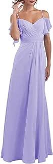 SoDigne Flowy Chiffon Bridesmaid Dresses Off Shoulder Modest Wedding Party Gowns for Women Girls