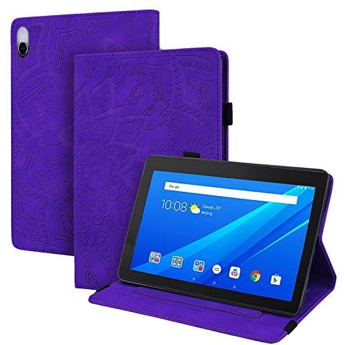 WHWOLF Funda para Lenovo Tab E10 (TB-X104F) Carcasa Tablet Cárcasa Cuero PU Bolsillo Función de Soporte Silicona TPU Absorción de Impactos -púrpura