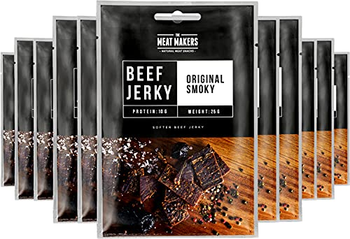 The Meat Makers   Snack Pack of Original Beef Jerky 12x25g (300g) – Smoky Original – Carne Secca, Snack alla Carne