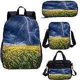 Nature - Juego de mochila escolar y bolsa de almuerzo (17 pulgadas, 4 en 1)