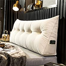 FTFDTMY Triangular Reading Pillow Large Backrest Positioning Support Bolster Headboard Cushion Wall Pillow, Pearl Cotton Filled Rest Daybed Pillow with Removable Cover, Velvet,White,1005020cm