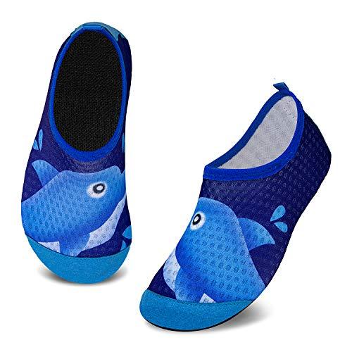 Badeschuhe Kinder Schwimmschuhe Wasserschuhe Schnell Trocknend Strandschuhe Aquaschuhe für Jungen Mädchen Baby Beach Pool(Delphin Blau,5.5/6 UK Child,22/23 EU)