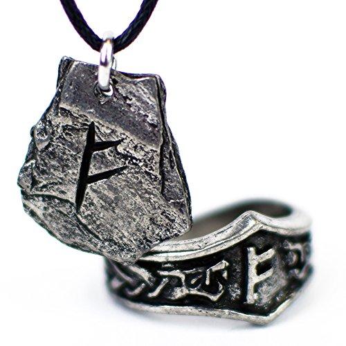 Colgante Vikingo con Runa y Anillo Rúnico - Set de Regalo para Hombres y Mujeres (F - FEHU)