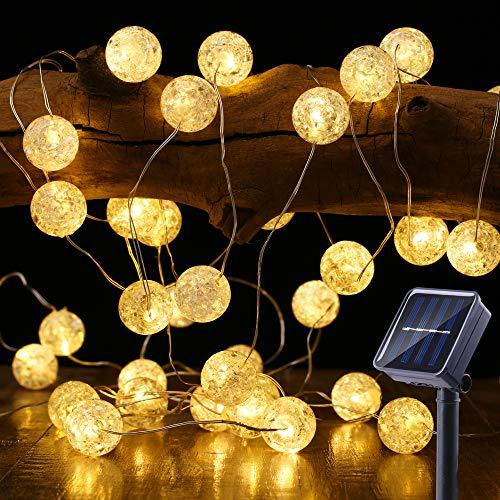 Guirnalda Luces Exterior Solares, BrizLabs 7M 50 LED Cadena