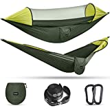 G4Free Large Camping Hammock with Mosquito Net 2 Person Pop-up Parachute Lightweight Hanging Hammocks Tree Straps Swing Hammock Bed for Outdoor Backpacking Backyard Hiking