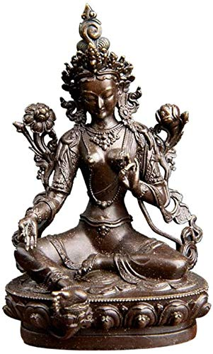 SculpturesQYZ Ornament Figur Sammlerfiguren Wohnkultur Ornament Figur Grün Tara Kleine Bronzestatuen Tantra Statuen Buddha Statue Feng Shui Dekoration Glückverheißendes Geschenk 7cm