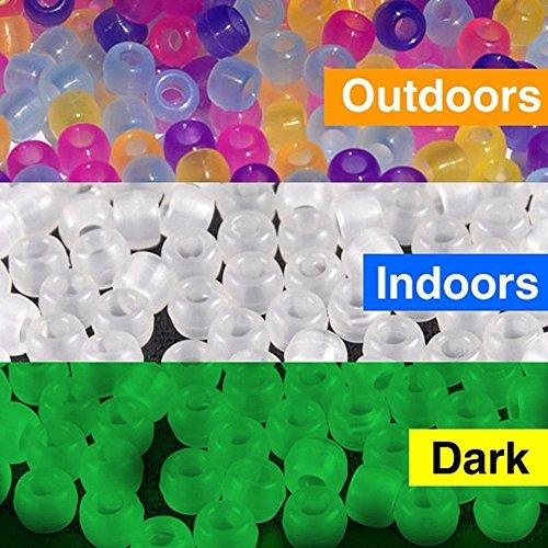 Goodlucky365 Confezione da 1000 Scientifiche Perline Multi Colore Uv, Cambiando Perline Reattivi Pony Plastica, Confezione da 500