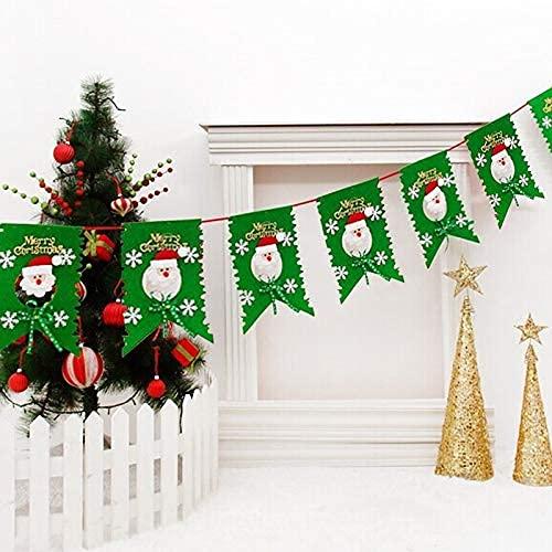 HGJINFANF Weihnachtsdekoration, 6 Flaggen aus Vliesstoff, Weihnachtsmann, zum Aufhängen, Familienzeit (Farbe: grün)
