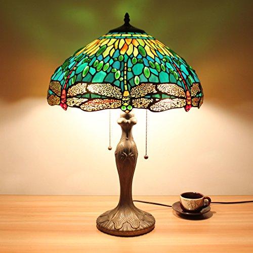 HDO 16-Zoll-Grün-Libelle Schmuck Pastoral Minimalist Tiffany Stil Tabelle Lampe Nachttisch Lampe Schreibtisch Lampe Wohnzimmer Bar Lampe