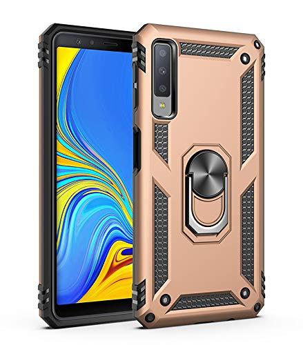 Capa Samsung Galaxy A7 2018 Case Protetor Material militar TPU macio +couro de PC proteção dupla camada de metal magnético para carro Suporte 360 graus girado anti-queda e anti-riscos capa:Dourado