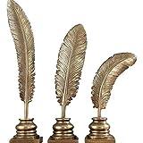 WPXBF Estatuas para Jardín 3 Unids/Set Estatua De Forma De Pluma Figuras De Arte Resina Artesanía Decoración del Hogar Accesorios