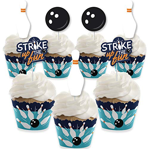 Big Dot of Happiness Strike Up the Fun - Bowling - Cupcake Decoration - Birthday Party or Baby Shower Cupcake Wrappers and Treat Picks Kit - Set of 24