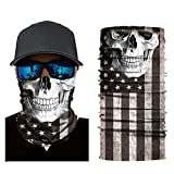 American Flag Reusable Fishing Neck Gaiter Face Mask USA Flag Headband Seamless Skull Bandanas Washable for Men Women Bike Riding Cycling Biker Hunting Outdoor (Skull)