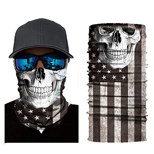 American Flag Reusable Fishing Neck Gaiter Face Mask USA Flag Headband Seamless Skull Bandanas Washable for Men Women Bike Riding Cycling Biker Hunting Outdoor (Skull)