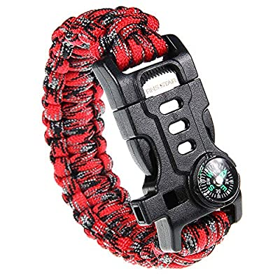 RNS STAR Paracord Survival Bracelet with Paracord Rope, 5-in-1 Tactical Bracelet Fire Starter, Compass, Emergency Whistle & Small Knife for Hiking Traveling Camping Gear Kit (Camo_Red)