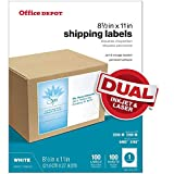 Office Depot Brand White Inkjet/Laser Permanent Full-Sheet Labels, 505-O004-0012, 8 1/2' x 11', Box of 100
