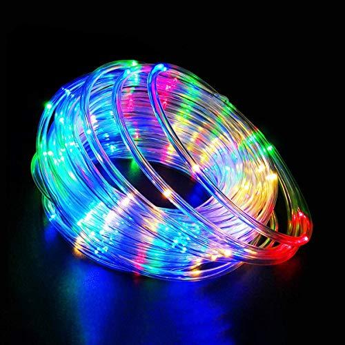 20M Solar Exterior Manguera Luces,IP68 Guirnaldas Luces, 200 led RGB Multicolor PVC Cuerda Luz Para Exteriores,Terraza Sombrillas, Jardin, árbol, Cerca, Interior, Año nuevo Fiesta, Navidad Decoracion