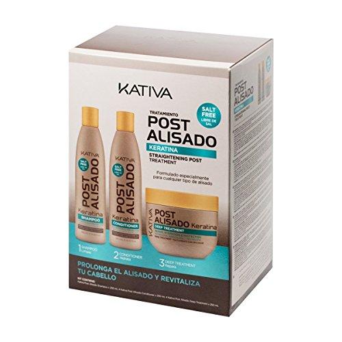 Kativa Set mit Shampoo, Conditioner und Maske Postalisado, ohne Salze, 3 Flaschen à 250 ml, Gesamtmenge: 750 ml