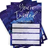 Galaxy Party Invitations, Set of 25 Cards and Envelopes, You're Invited, Space Themed Ideas
