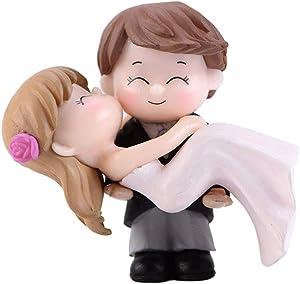 zdfYYkzdf Sweet Couple Bride Groom Accessories for Miniature Landscape Wedding Decorative Ornament Miniature House Fairy Garden Decor Black White