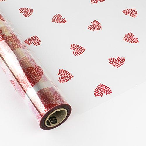 PAKOT Bobina Polipropileno Transparente Diseño Corazones Rojos - Rollo 70cm x 50M - Ideal San Valentín, Parejas y Bodas