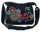 GURU SHOP Bolso de Hombro, Bolso Hippie, Bolso Goa - Negro/color, Unisex - Adultos, Algodón, Tama�o:One Size, 23x28x12 cm, Bolsas de Hombro