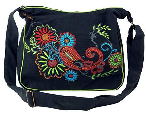 GURU SHOP Schultertasche, Hippie Tasche, Goa Tasche - Schwarz/bunt, Herren/Damen, Baumwolle, Size:One Size, 23x28x12 cm, Alternative Umhängetasche, Handtasche aus Stoff