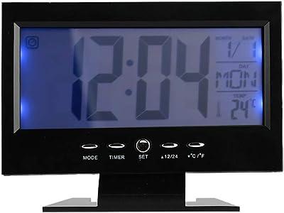 WTC-Ohxi LCD De Cristal Líquido De Control De Voz Electrónico Despertador, Pantalla Grande De Escritorio Calendario Perpetuo Pantalla De Temperatura De Monitor De Tiempo Retroiluminado: Amazon.es: Hogar