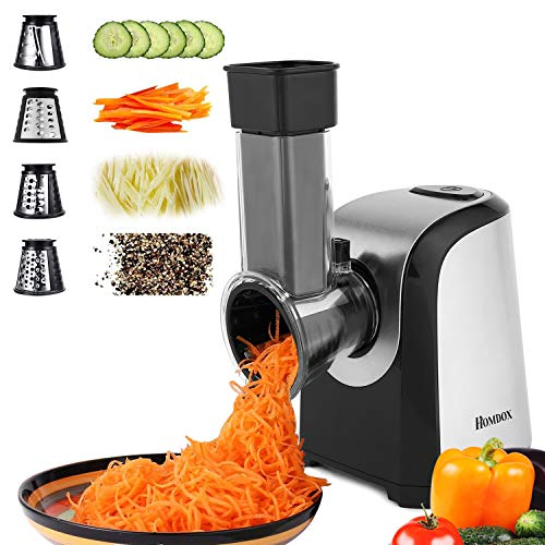 Homdox Salad Shooter Electric Slicer Shredder Greater Electric Cheese Grater Salad Maker Machine Carrot Slicer with 4 Stainless Steel Rotary Blades, One-Touch Control