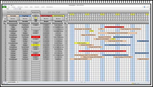 Belegungskalender Belegungsplan Vermietungsplan für Maschinen, Baumaschinen, Ferienwohnung, Pension, Maschinenverleih XLS