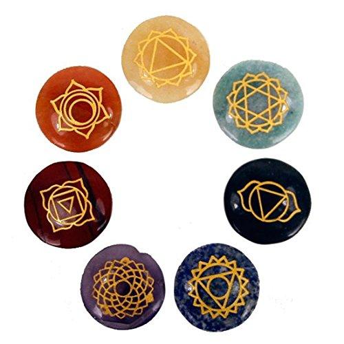 Edelstein SET mit 7 Chakra Symbolsteinen (rund) in Samtbeutel