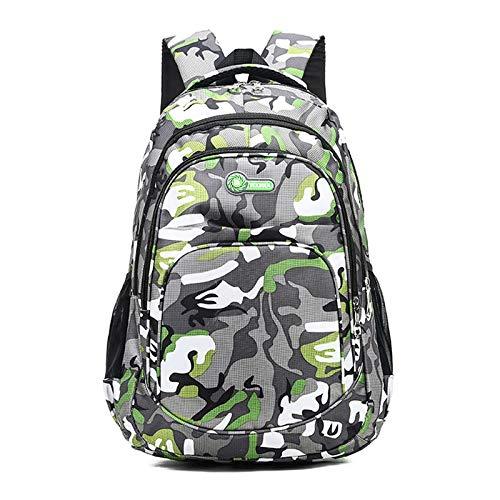 REBKW 2 tamaños de camuflaje impermeable bolsas de la escuela para niñas niños ortopédicos niños mochila de los niños mochila de los libros de la mochila mochila escolar (verde grande-1)