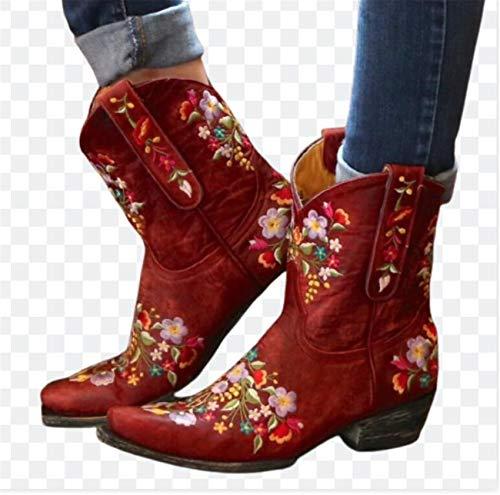 SHADIOA Frauen Stiefel Stickerei Spitze Zehen Herbst und Winter Frauen Schuhe Cowboy Cowgirls Stiefel Outdoor Skid Proku Motorrad Stiefel,Rot,37