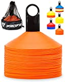 Pro Disc Cones (Set of 50) - Agility Soccer Cones with Carry Bag and Holder for Training, Football, Kids, Sports, Field Cone Markers - Includes Top 15 Drills eBook (Bright Orange)