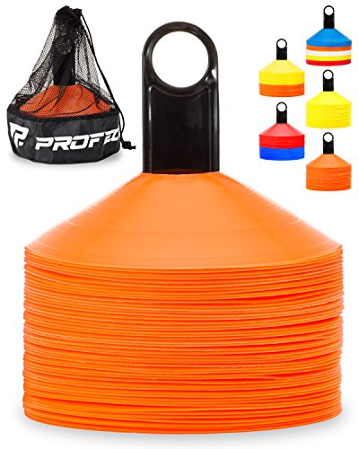 Pro Disc Cones (Set of 50) - Agility Soccer Cones with Carry Bag and Holder for Training, Football, Kids, Sports, Field Cone Markers - Includes Top 15 Drills Book (Bright Orange)