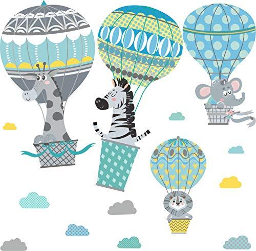Klebefolie Mint - greenluup Öko Wandtattoo Wandsticker mint Tiere Safari Dschungeltiere Elefant Heißluftballons Wolken KInderzimmer Mädchen Junge Baby