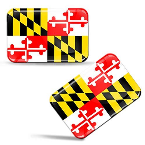 2 x 3D Maryland State Flag Domed Stickers 100% Waterproof & UV Protected Decals Car Motorcycle Helmet F 118
