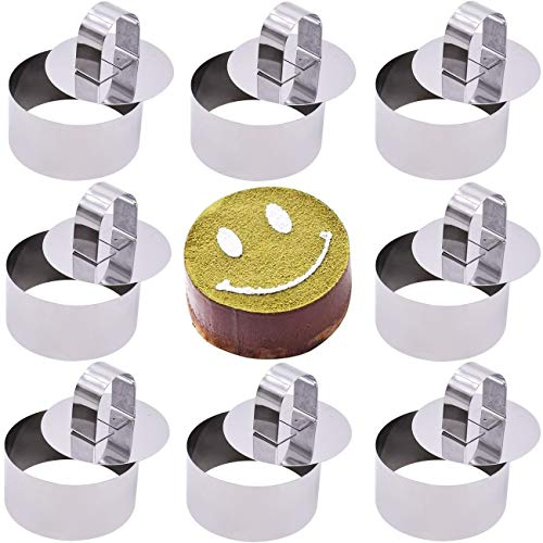 Cooking Rings Set with Pusher Non-Stick Stainless Steel Round Food Rings for Cooking Crumpets Eggs Pastry Mousse Desserts / 8cm Diameter 8pcs