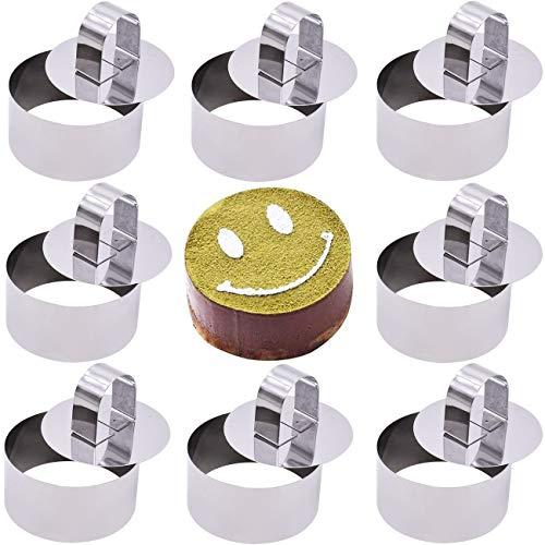 WENTS Mousse Anneaux en Acier Inoxydable gâteau Cercle Moule à Cake avec Poussoir, 8 cm de diamètre, Lot de 8 Round