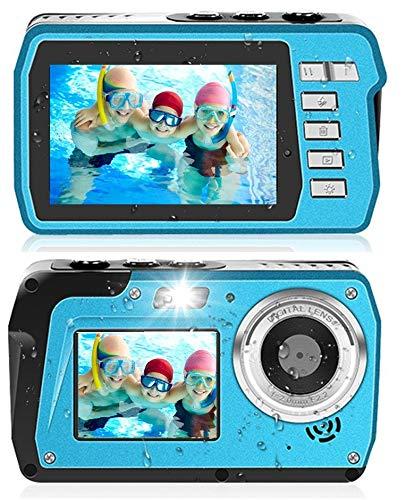 防水デジカメ 防水カメラ デジカメ 水中カメラ 防水デジタルカメラ デュアルスクリーン コンパクト 2.7K 48MP 水に浮く 連続ショット 16Xデジタルズーム 初心者 誕生日 Micro SDカード128GB対応 日本語説明書付き
