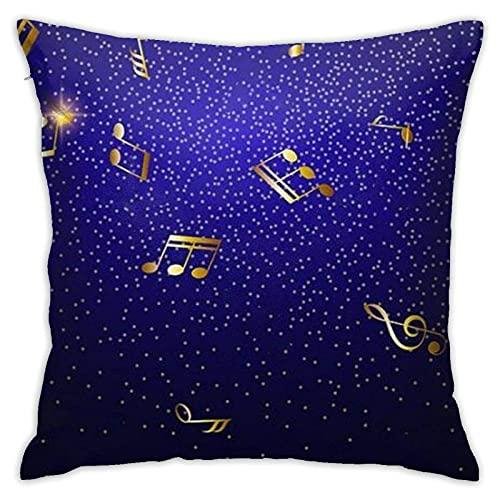 SHENGANG Throw Pillow Covers-Blue Shiny Music Notes Dekorative Kissenbezüge, Square Hidden Zipper Home Kissen Pilloase für Sofa, Couch, Bett und Auto