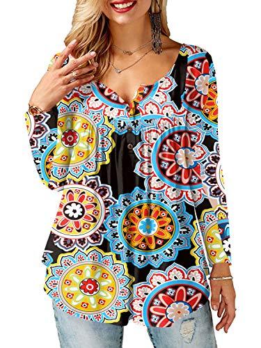 Amoretu Große Größe Damen V-Ausschnitt Langarmshirt mit Knopfleiste Gelb 50
