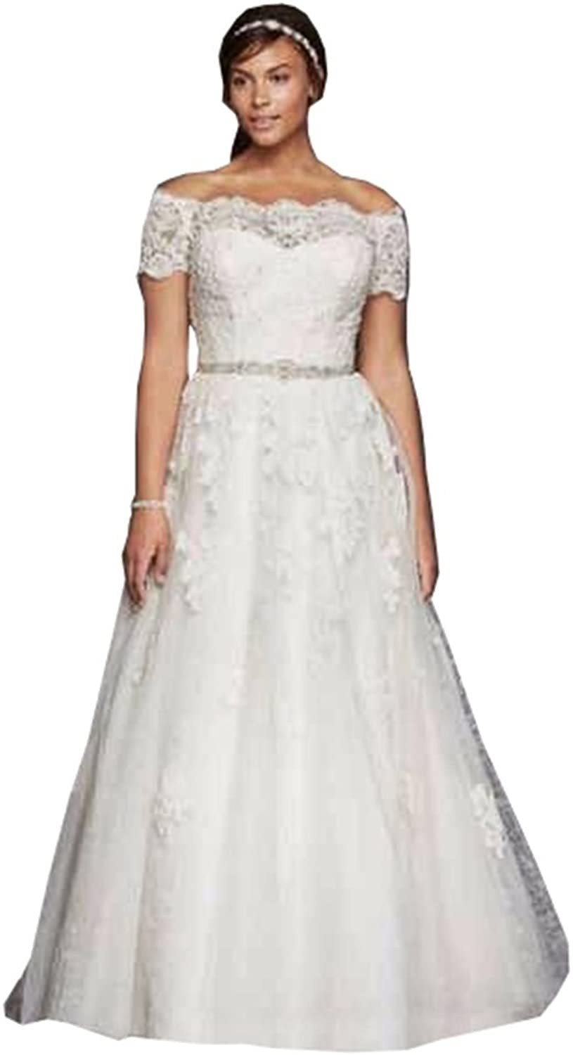 Ellystar Women's Plus Size ALine Tulle Covered Button Off Shoulder Bridal Gowns