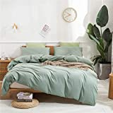 Janlive Washed Cotton Duvet Cover King Ultra Soft 100% Natural Cotton Solid Green Duvet Cover Set with Zipper Closure -3 Pieces Green King